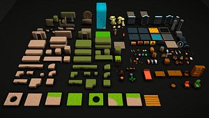 Modular Low Poly Cartoon Dungeon Props and Tileset Pack model