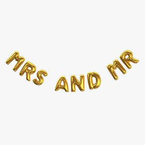 3D model Foil Balloon Words Mrs and Mr Gold