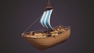 3D Stylized Ship and Props