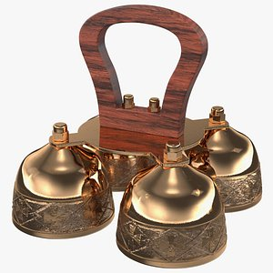 Brass Liturgical Bell 4 Tones Wood Handle 3D model