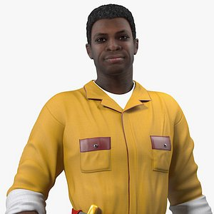 african american locksmith rigged male 3D model