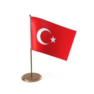 desk flag turkey 3D model