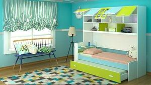 3D model kids room design scene