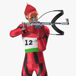 3D Biathlete Fully Equipped Rigged for Maya model
