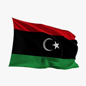 Realistic Animated Flag - Microtexture Rigged - Put your own texture - Def Libya 3D model