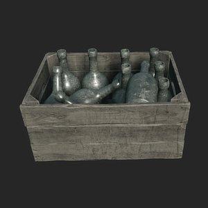 bottle crate old 3D model