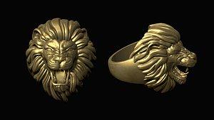 3D model print furious lion head
