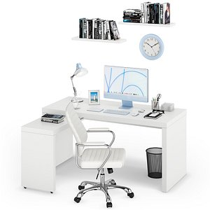 Workplace iMac Blue 3D model