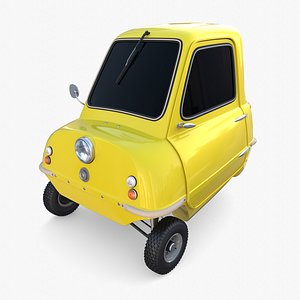 Peel P50 Yellow with chassis 3D