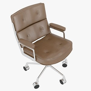 3D model Eames Executive Chair Chrome Frame Brown Leather