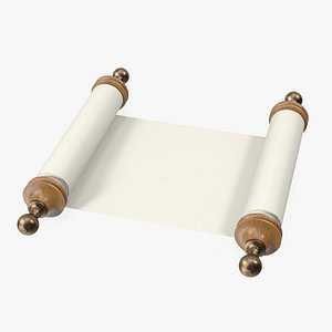 3D Unfolded Blank Parchment Scroll