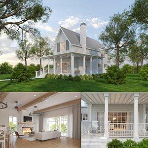 3D Farmhouse Cottage Exterior and Interior