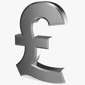 3D uk pound currency symbol model