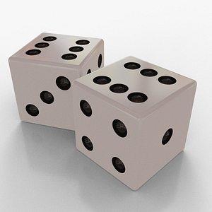 d6 dice white games 3D model