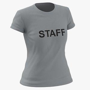 3D Female Crew Neck Worn Gray Staff 02 model