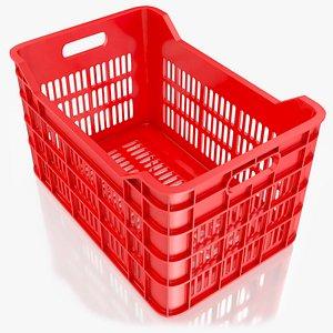 3D red plastic crate