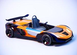 Go-kart racing car remote control car 4x4 toy car sports car bumper car cartoon car 3D model