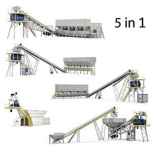 3D model Ready Mix Concrete Plants Machines Collection