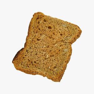 3D bread toast dark 01 model