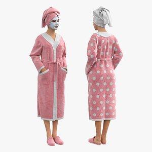 3D model woman bathrobe