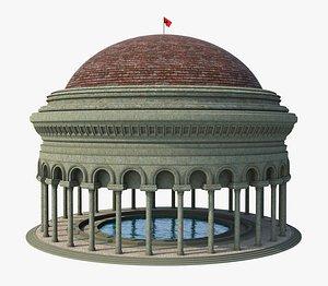 Classic Swimming Pool Temple 3D model
