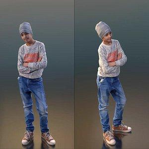 3D model boy standing hat