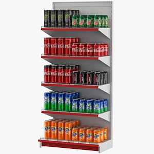 3D model supermarket shelves soda