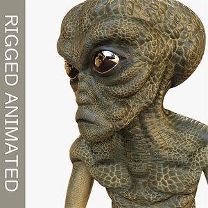 3D grey alien model