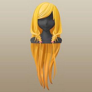 hair girl anime 3D
