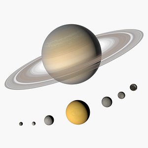 3D Saturn and moons
