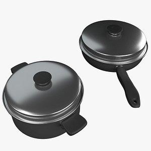 3D Utensils - 2 Pans with lid model