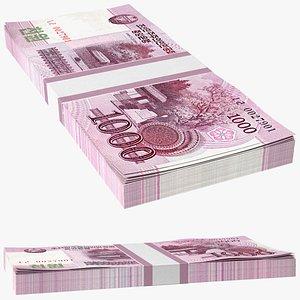 North Korea 1000 Won Banknotes Bundle 3D model