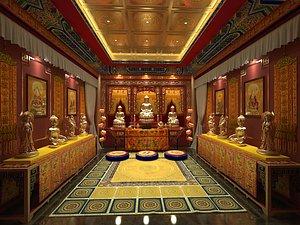 Buddhist ancestral temple, Taoist temple, Qing meditating futon 3D