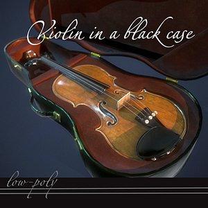 3D model Violin in a black case pbr Low-poly