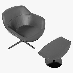 Cassina 277-22 Auckland Arm Chair and 277-42 Auckland Ottoman Black Leather Black Body 3D model