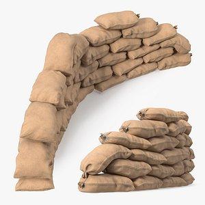 Semicircle Sandbag Wall 3D
