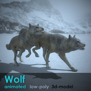 Wolf animated PBR Low-poly 3D