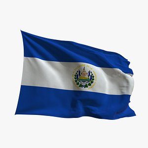 Realistic Animated Flag - Microtexture Rigged - Put your own texture - Def El Salvador 3D model