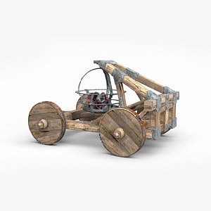 3D model small ancient catapults