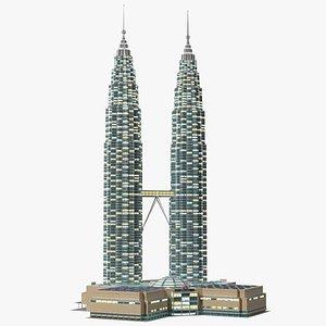 Petronas Towers Twin Skyscrapers Night Glow model