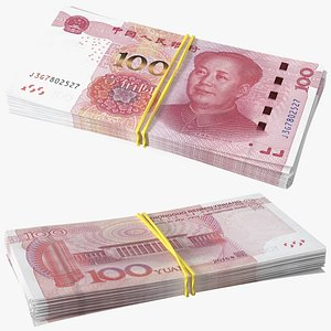 3D Stack of Chinese 100 Yuan 2015 Bills model