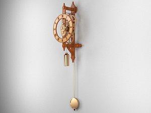 3D clock wooden wood model