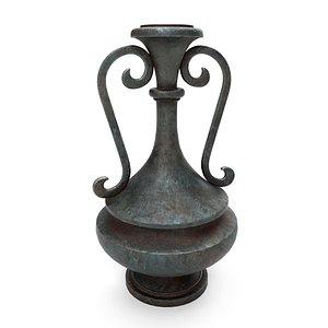3D Old metal vase