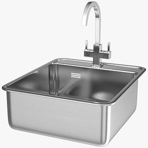 3D model Stainless Steel Inset Sink with Angular Tap