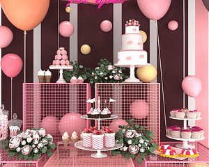 wedding balloon lobby flower wall Dessert party stage 3D