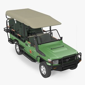 3D Toyota Land Cruiser Safari Open Sided Green Clean Rigged