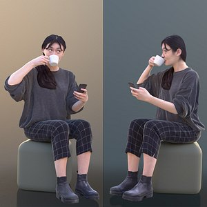 woman young sitting 3D model
