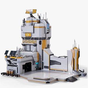 3D Sci-Fi Futuristic Command Center 02 PBR model