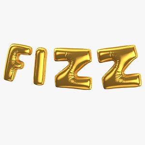 3D Foil Baloon Words FIZZ Gold model
