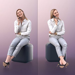 woman sitting phone model